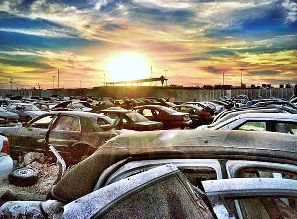is the sun setting or rising on vehicle recycling yards