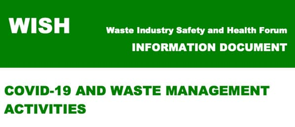 WISH guidance waste management activities post