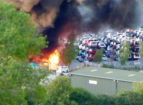 Scrapyard fire Daventry Intaparts car parts