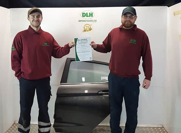 DLH Autorecyclers Ltd awarded VRAC Certified Vehicle Recycler certification f