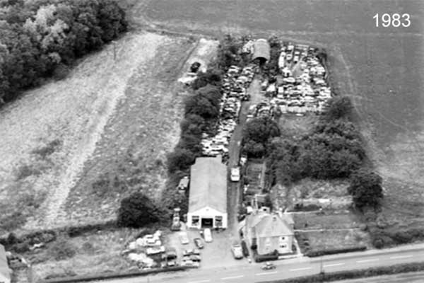 Aerial view of the site in 1983 three
