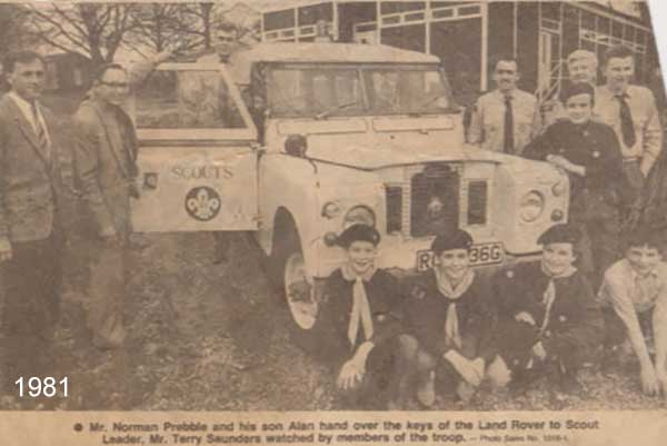 Silverlake has always sought ways to support the local community; Norman and Allen donate a Land Rover to the local Scouts group in 1981 five